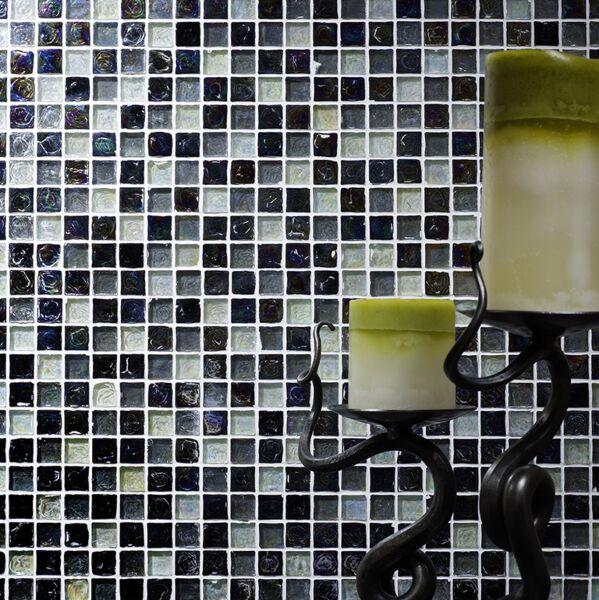 Hammered Pearl Black/White Mix Glass Mosaic 23x23mm