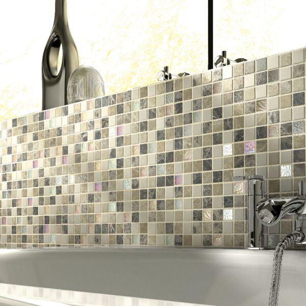 Emperador Cream Glass/Stone Mix Mosaic 23x23mm