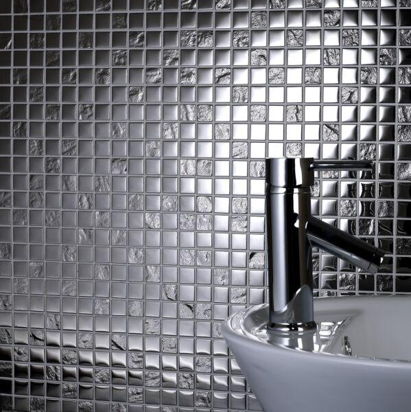 Chrome Pattern Glass Mosaic 23x23mm