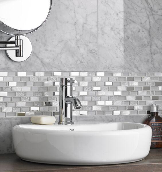 Blanco Glass/Stone/Metal/Pearl Mix Mini Brick Mosaic 15x30mm