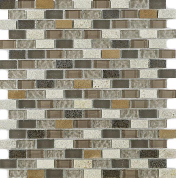 New York Beige Glass/Stone Mix Mini Brick Mosaic 15x30mm