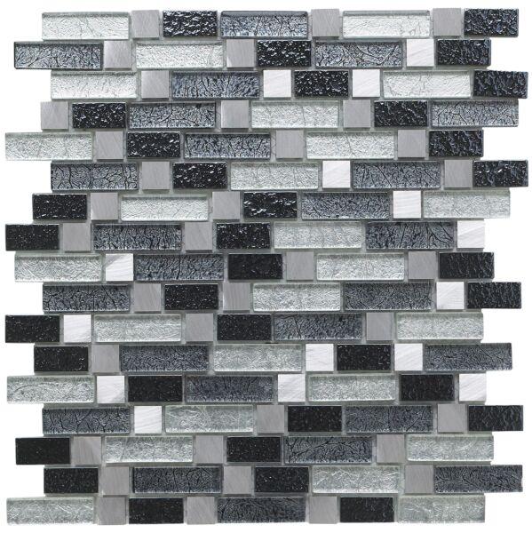Atlas Fusion Grey Glass/Metal Mix Offset Linear Mosaic