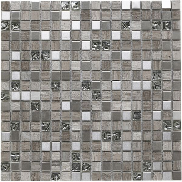Cedar Grey Glass/Stone/Metal Mix Mosaic 15x15mm