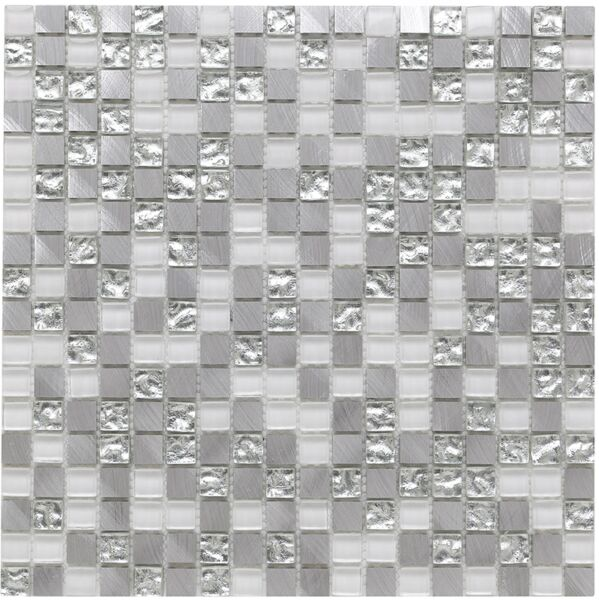 Platinum 136 Glass/Metal Mix Mosaic 15x15mm
