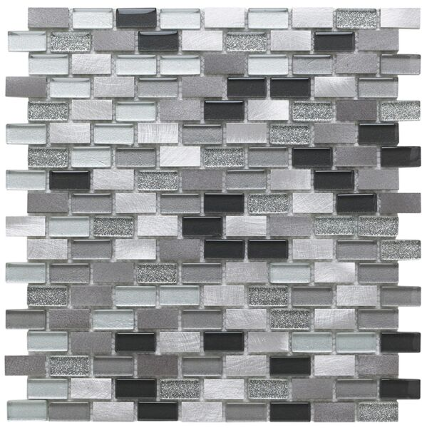 Platinum Lancer 139 Glass/Metal Mix Mini Brick Mosaic 15x30mm