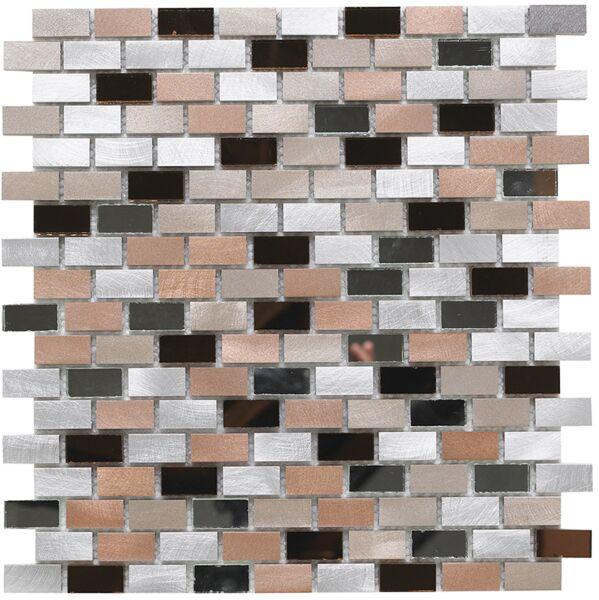 Platinum 140 Glass/Metal Mix Mini Brick Mosaic 15x30mm