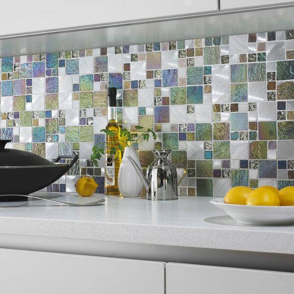 Iridescent Glass/Stone/Metal Mix Modular Mosaic