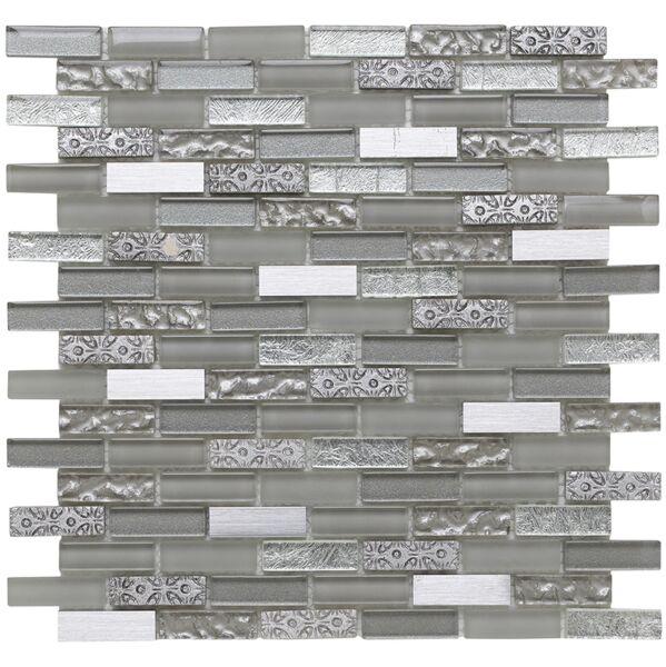 Silver Moon Glass/Stone/Metal Mix Mini Brick Mosaic 15x50mm