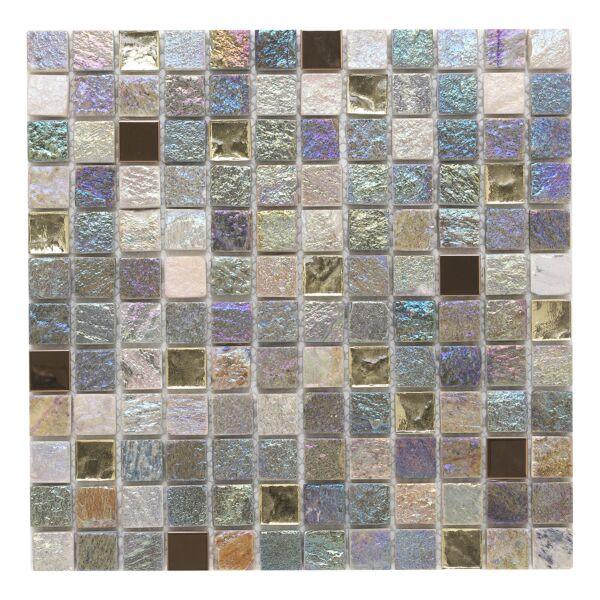 Iridescent Glass/Stone Mix Mosaic 23x23mm