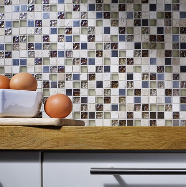 Athens Beige Glass/Metal/Stone Mix Mosaic 15x15mm