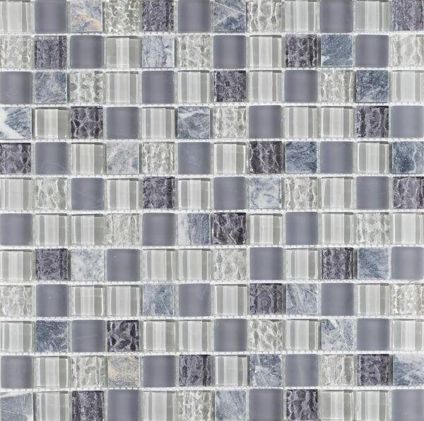 Soft Grey Glass/Stone Mix Mosaic 23x23mm