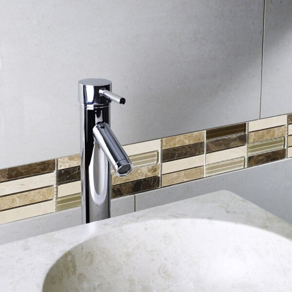 Emperador Brown Glass/Stone Mix Mini Brick Mosaic 15x50mm
