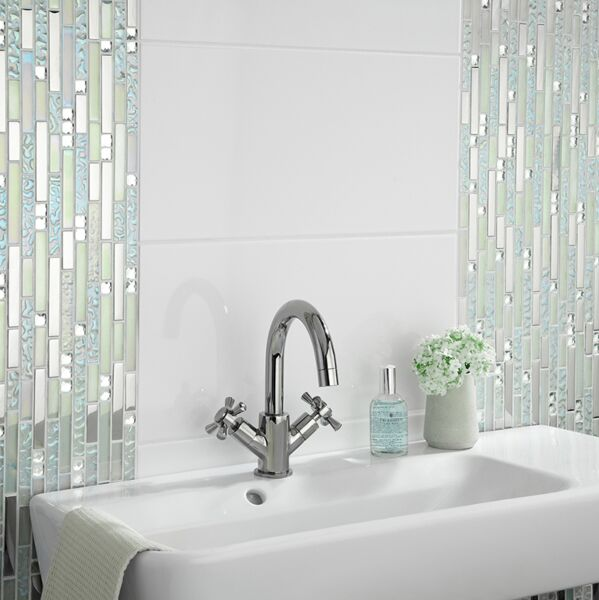 Lush Pearlescent Glass, Metal & Mirror Mix Random Mosaic