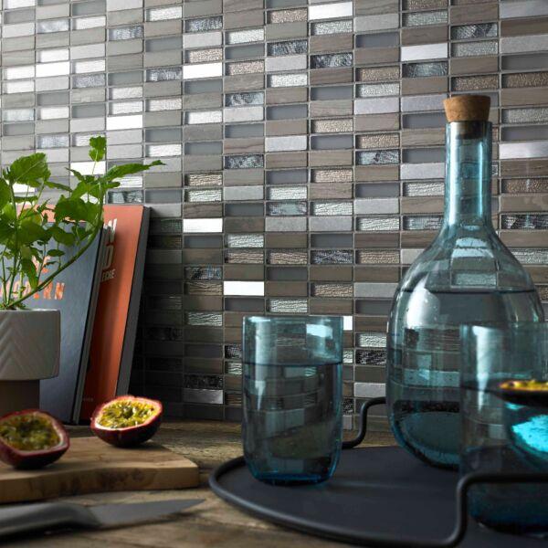 Heydon Beige Mix Stone/Glass & Metal Linear Mosaic15x48mm
