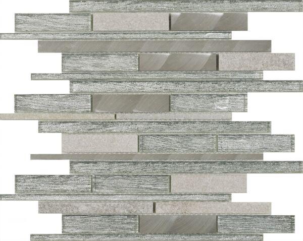 Kenton Silver Glass/Stone/Metal Mix Offset Linear Mosaic
