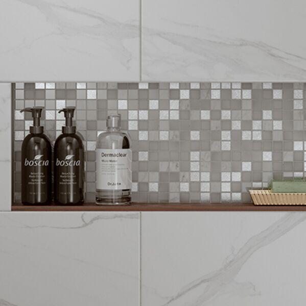 Hutton White/Silver Glass & Stone Mix Mosaic 23x23mm