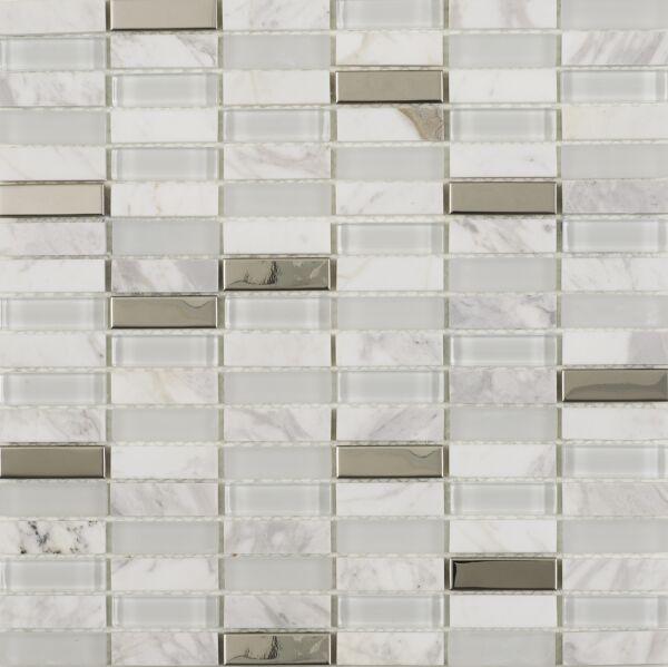 Hutton White Glass/Stone/Metal Mix Linear Mosaic 15x48mm