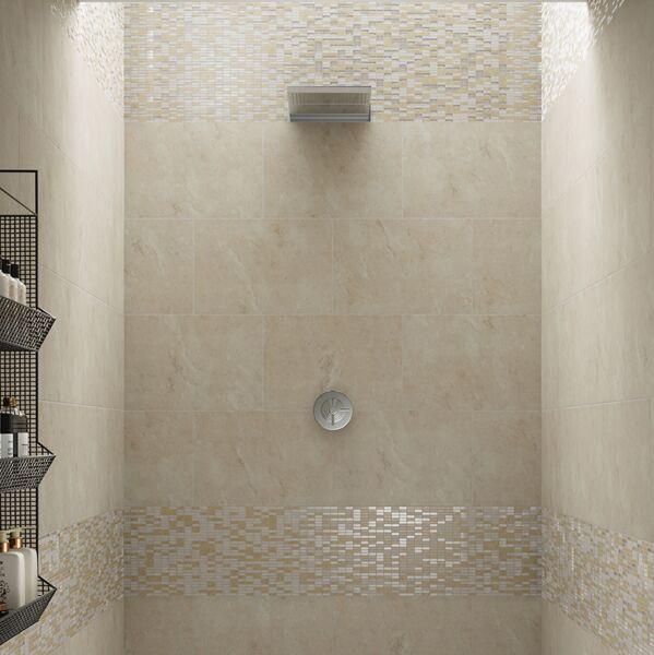 Santon Beige Glass & Stone Mix Linear Mosaic 10x30mm