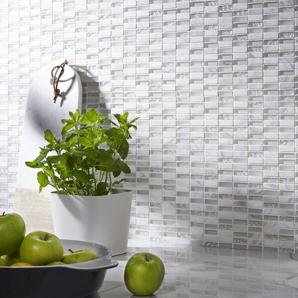 Santon White Glass & Stone Mix Linear Mosaic 10x30mm