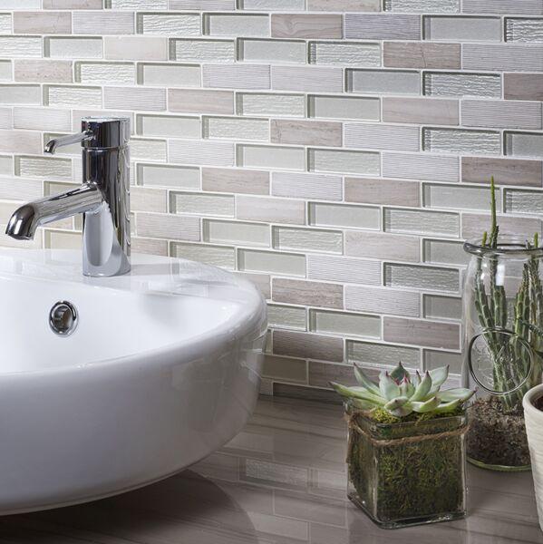 Bailey Grey/White Glass & Stone Mix Brick Mosaic 20x73mm