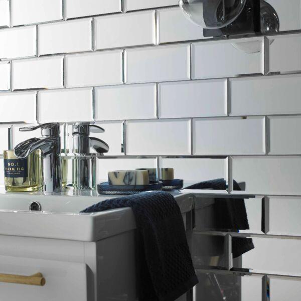 Lumiere Bevel Mirror Brick Mosaic 75x150mm