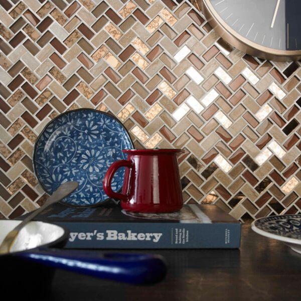 Pence Copper Herringbone Glass & Stone Mosaic 15x30mm