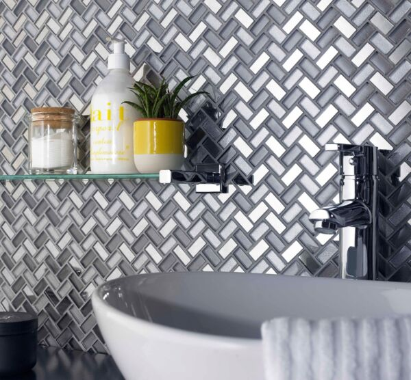Dusk Grey Herringbone Glass & Mirror Mosaic 270x290mm