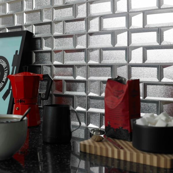 Dimensions Silver 3D Glass Mixed Size Mosaic