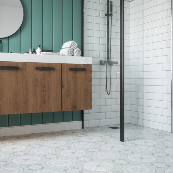 Metro White with Ribera Aqua floor tiles