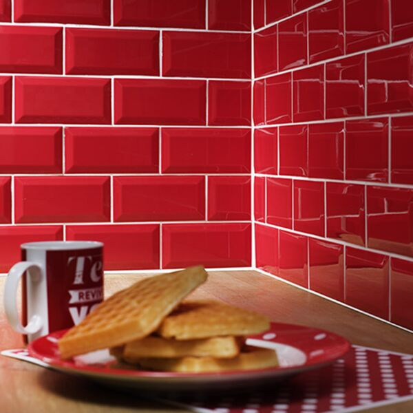 Metro Red Ceramic Wall Tile 100x200mm