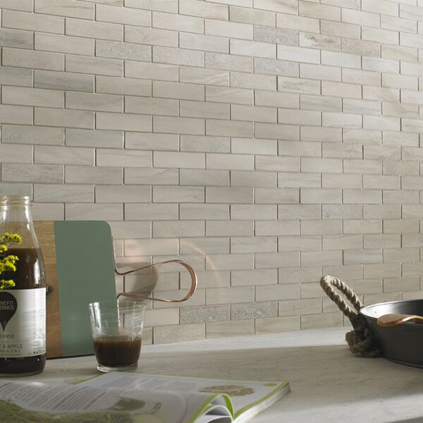 Tech Marble Beige Brick Mosaic 97x27mm