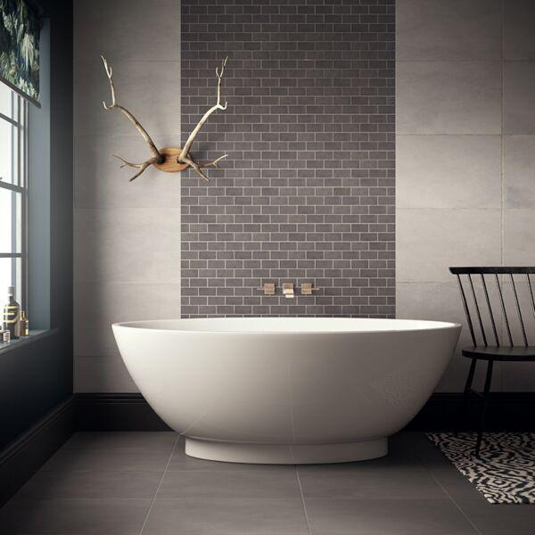 Cemento Dark Grey Brick Mosaic 96x47mm