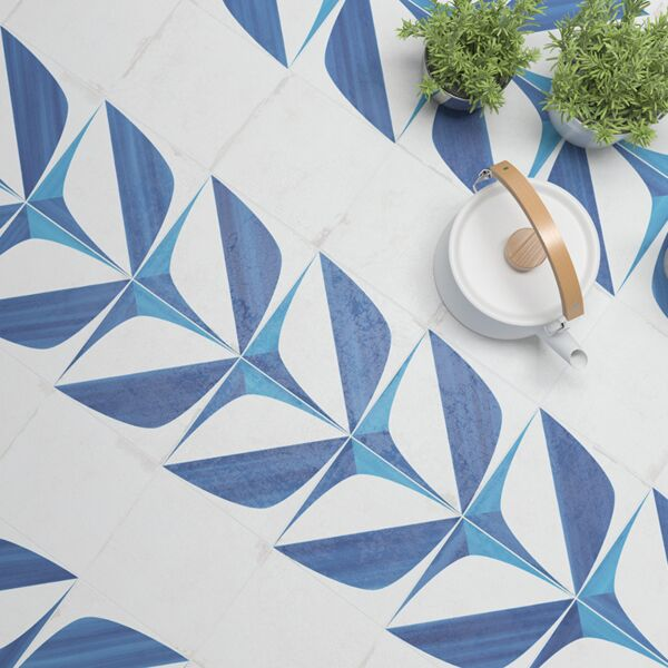 Crafted Blanc Bleu Leaf W&F 185x185mm