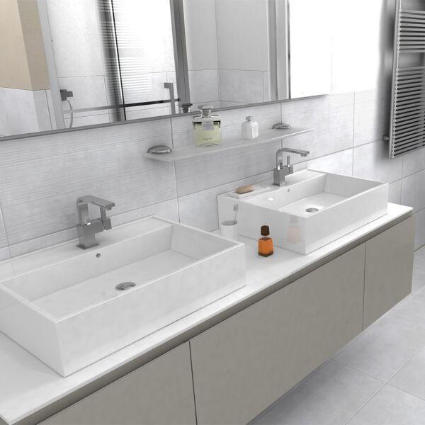 Loft White Waves Decor Glazed Porcelain 30x60m with Loft White