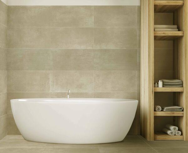 Loft Cream Waves Decor Glazed Porcelain Wall 304x610mm