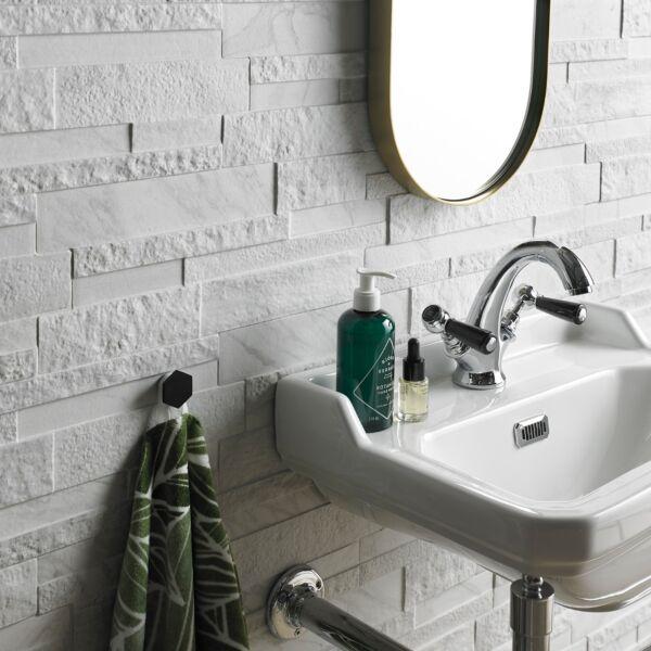 Marmi White porcelain split face tile
