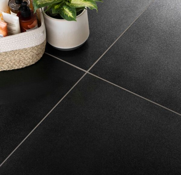 Sugar Black Glazed Porcelain Wall & Floor Tile 600x600mm