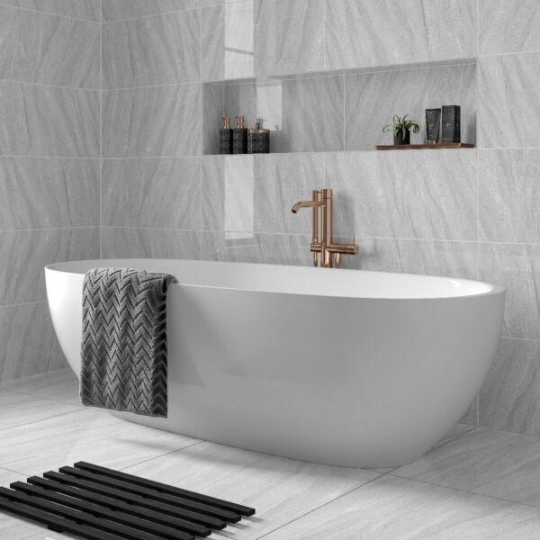 Wynn Light Grey Glazed Porcelain Wall & Floor Tile 300 x 600mm