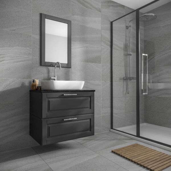 Anderley Dark Grey Matt Glazed Porcelain Wall & Floor Tile 600x600mm