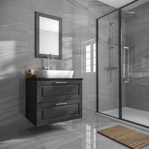 Anderley Dark Grey Polished Glazed Porcelain Wall & Floor Tile 600x600mm