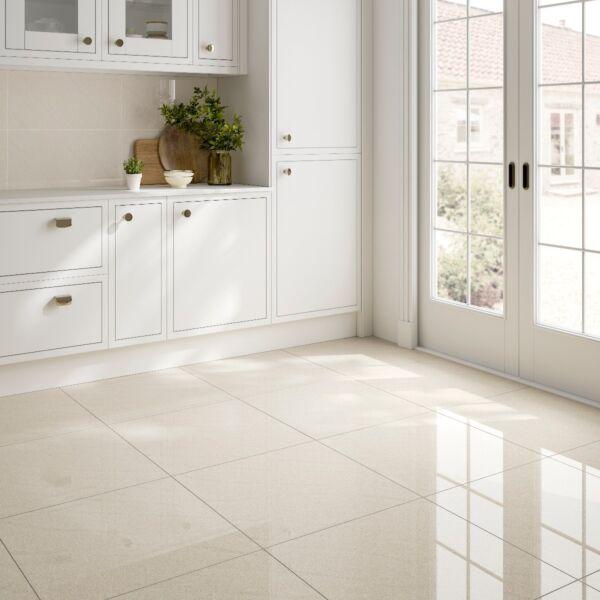 Seaboard Ivory Glazed Polished Porcelain Wall & Floor Tile 600x600mm