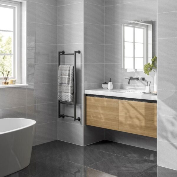 Seaboard Anthracite Glazed Polished Porcelain 600x600mm