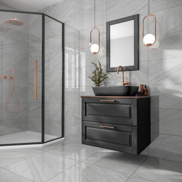 Marsden Light Grey Polished Glazed Porcelain Wall & Floor Tile 300x600mm