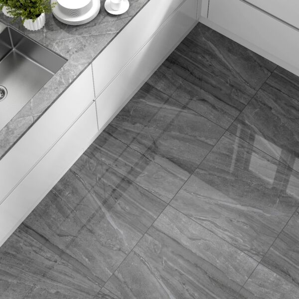 Vermont Dark Grey Glazed Polished Porcelain 800x800mm