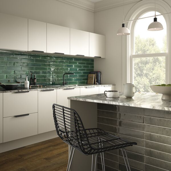 Hope Green 75x300mm Ceramic Wall Tiles with Hope Ash & ClickLux Rich Walnut