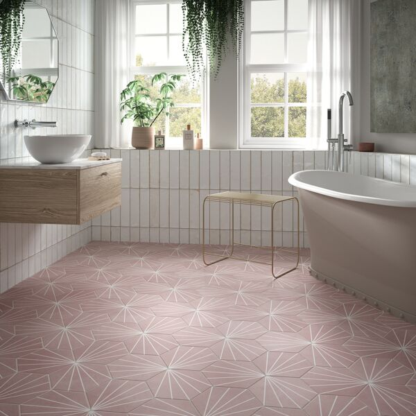 Hope White 75x300mm Ceramic Wall Tiles with Lilypad Rose