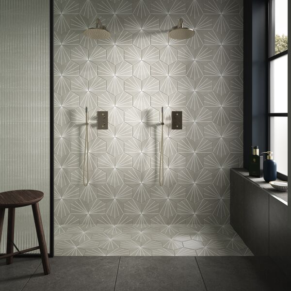 Lilypad Grey Porcelain Wall & Floor Tiles with Kalksten Smoke