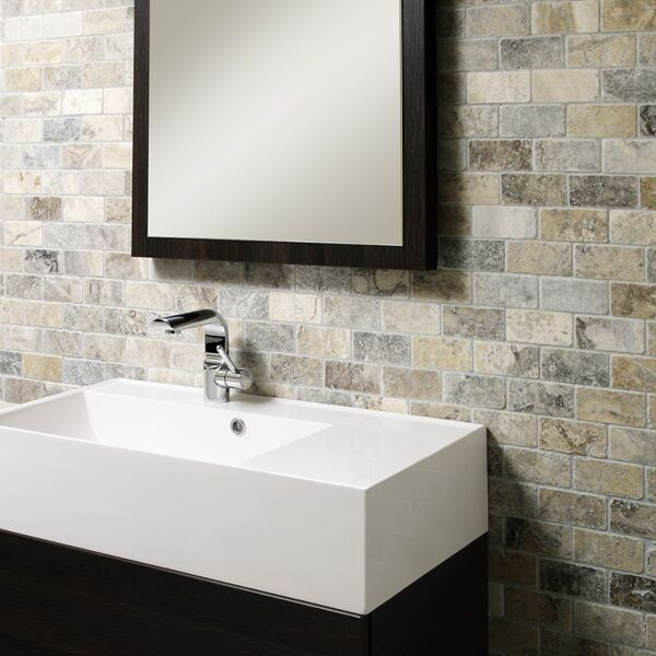 Anatolian Grey Tumbled Travertine Brick Mosaic 48x98mm