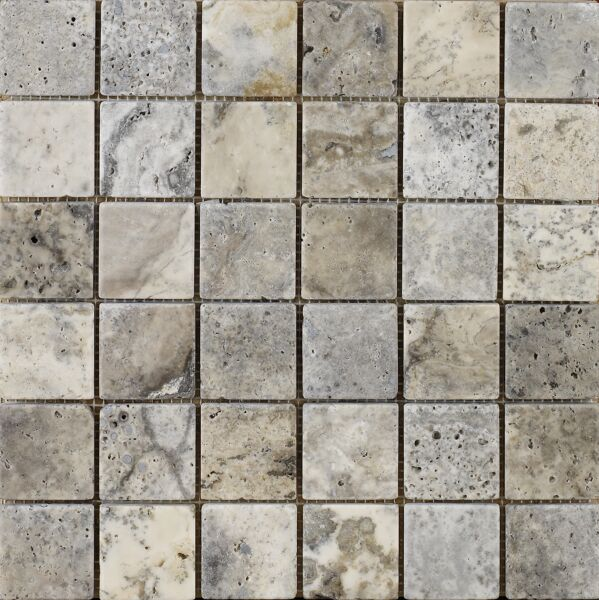 Anatolian Grey Honed & Filled Travertine Mosaic 48x48mm