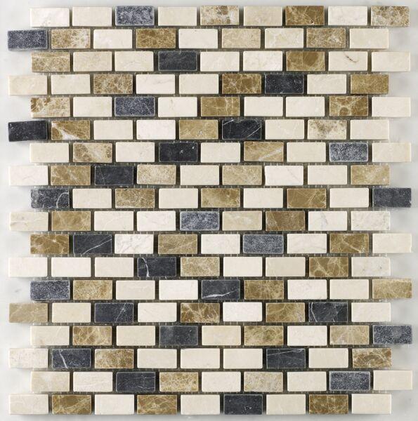 Marseille Empredor Tumbled Marble Mini Brick Mosaic 15x30mm